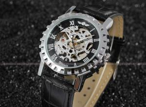 Quality Winner Fashion Mens Automatic Watch , Black Leather Strap Men Wristwatch With for sale ...