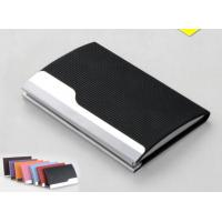 PU Leather Cover On Metal Frame Business Card Holder With Classic Design