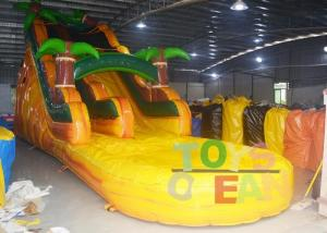 China Yellow Jungle Inflatable Water Slide With Pool For Kids ,  Bounce House Water Slide on sale