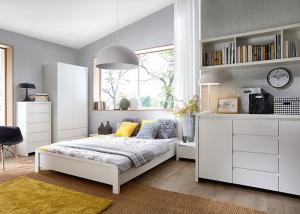 China Modern High Glossy White Bedroom Furniture Sets , 5 Drawer Chest on sale