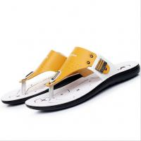 Handmade Mens Leather Slipper Shoes , Round Toe Mens Beach Flip Flops