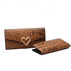 China 2 piece a set PU leather women wallet snake skin emboss crocodile grain long style purse on sale