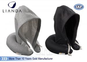 China Hoodie Travel Neck Pillow U Shape Cervical Rest Soft Fabric With Hood For Sleeping on sale