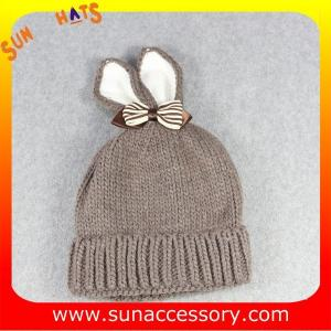 China AK17023 Sun Accessory customized baby knitted beanie caps and hats with rabbit ear, ,caps in stock MOQ only 3 pcs on sale