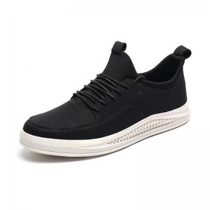 China Antiskid Breathable Black Leather Casual Sneakers UK 11 12 13 Size on sale