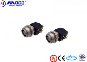 China PCB Board Circular Push Pull Connectors Elbow 90° Socket With Two Nuts on sale