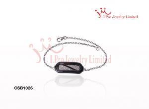 China White And Black Gradient Tool Cushion Shaped 925 Sterling Ceramic Silver Bracelet on sale