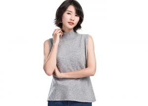 China Loose Ladies Knitted Vest For Women , High Neck Solid Color Sleeveless Sweater Vest on sale