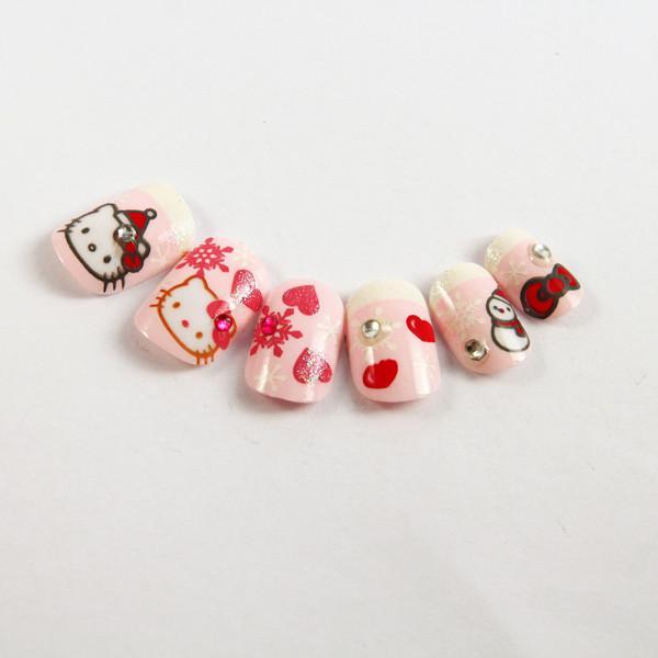 Kids Finger Helly Kitty Cartoon Fake Nails 3D Diamond Glitter Artist ...