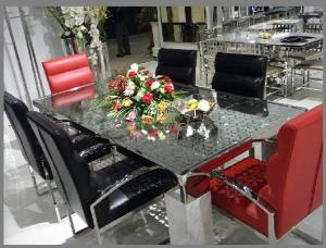 China OEM Modern Living Room Furnitures of Glass Banquet Tables and Leather Chairs   on sale