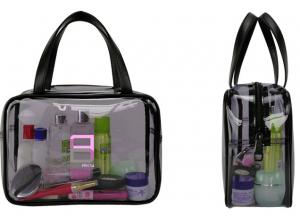 China Waterproof Clear Travel Cosmetic Bags Eco Friendly Material With Handles on sale