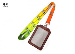 China Colorful Real Leather ID Card Badge Holder Lanyard For Student on sale