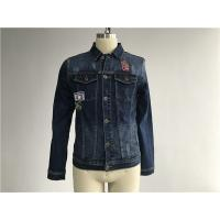 Button Through Stretch Denim Jacket Mens Trucker Jacket Size Customized TW76376