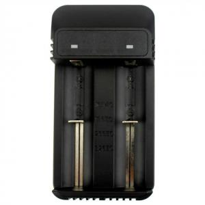 China Portable Black 26650 2 Bay Battery Charger 3.7V 1.2V AA AAA Smart Charger on sale