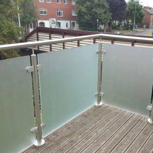balcony railing guard Outdoor Frameless Polish Stainless Steel Glass Balcony