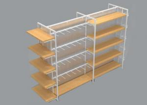 China Multifunction 4 Sided Metal Retail Display Shelves With Hooks And Cabinets on sale