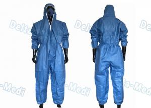 China Dark Blue SF Microporous Disposable Protective Coveralls Hooded With Elastic Cuff on sale