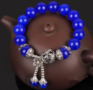 China Blue chalcedony bracelet, gemstone beaded bracelets, quartzite jewelry, brave bracelets on sale