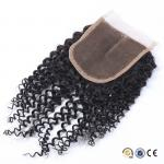 4x4 Size Swiss Lace Malaysian Kinky Curly Closure One Donor Virgin Curly Hair