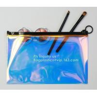 holographic glitter mini purse transparent clear PVC cosmetic slider bag, slider zipper PVC bag clear vinyl cosmetic bag