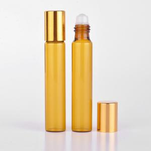 China 10ml  Amber Essential Oil Glass Roll On Bottle With Silver or Gold Cap and Metal Roller on sale