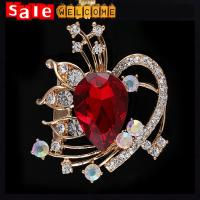 Women Men Heart Crystal Suit Collar Pin Brooches, Crystal Woman Brooches Pins Wholesale