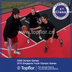 Portable PP suspended interlocking sports flooring for outdoor court