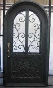 China Arched wrought iron entry doors, single & double exterior iron front doors steel main wrought iron door on sale