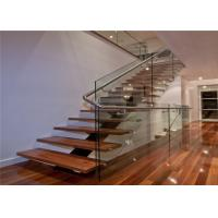 Interior decoration wood tread stainless steel railing iron straight staircase
