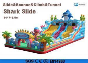 China playground equipment land slide inflatable shark slide for kids on sale