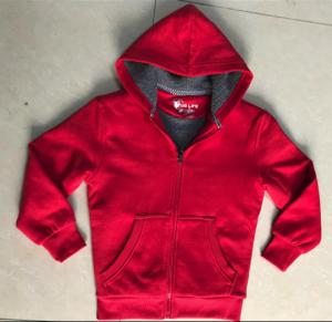 China Red Childrens Fleece Coats , Boys Hooded Fleece Jacket Sherpa Lining on sale