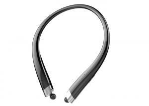 China Waterproof Bluetooth Headset Retractable Earbuds With Microphone , Black Color on sale