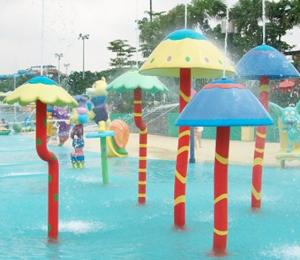 China Customized  Waterpark Fiberglass Spray Mushroom Aqua Equipment For Kids Games on sale