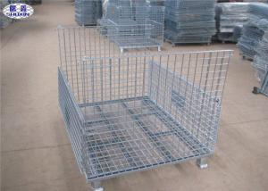 China Metal Storage Wire Mesh Pallet Cages Basket Foldable Lockable COC Certificated on sale