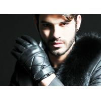 Winter Warm Belt Cuff Men Fashion Leather Gloves With Embroidery Sheep Leather Black Color