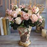 Da fita cor-de-rosa falsificada do cetim da falsificação do presente do dia de são valentim da flor de UVG flores feitos a mão Rosa