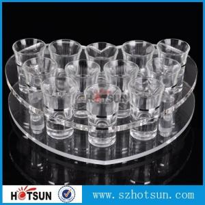 China acrylic beer tasting tray holder / acrylic tray cup holder / acrylic shot glass tray for bar on sale