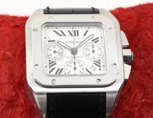 China Perfect Replica Cartier Santos Stainless Steel Case White Dial Chronograph 41mm Watch on sale