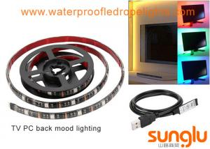 China USB 5V 8mm 5050 RGB LED Strip Lights Colour Changing Laptop PC Back Mood Lighting on sale