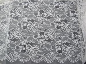 China White Nylon Swiss Lace Fabric Floral Knitted With Border Lace and Scallop Edge on sale