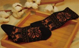China High quality vintage style christmas deer patterned design cotton winter thick hosiery on sale