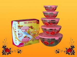 China 5 piece decorative Engraving frosty, hot stamping colored pasta, Candy Glass Bowl set on sale
