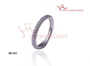 China Circle Round CZ Pave Set 925 Sterling Silver Bands Wedding Rings on sale