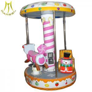 China Hansel  shopping mall electric fiberglass horses car carousel for kids 3 seats mini carousel on sale
