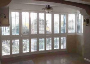 China Wooden Window Plantation Shutters  Side Hinged Sunburst Shape For Apartment on sale