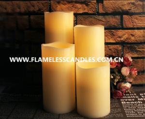 China Modern Straight Edge LED Flameless Candle , Flickering White LED Pillar Candles on sale