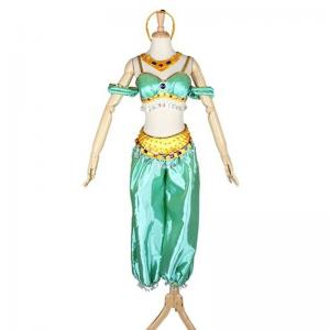 China Princess Dress Wholesale Satin Green Custom Made Aladdin Jasmine Princess Dress Cosplay on sale