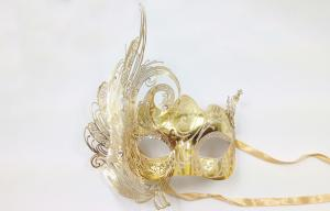 China Gold Filigree Masquerade Ball Mask , Party Mask With Feather on sale