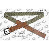Khaki Polyester / Brown PU Mens Braided Belts With Square PU Tip 3.4cm Width