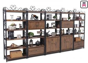 China Custom Metal Wood Loft Style Shelving Classical Carving With Drawer Rustic Storage on sale
